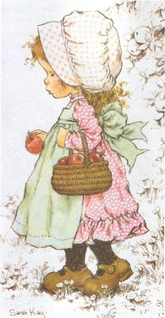 This picture took me right back to my childhood! I used to collect Sarah Kay cards and tried to draw them myself :-) Sweet memories (Hobbies To Try) Sarah Key, Holly Hobbie, Birthday Girl Pictures, Digi Stamps, Illustrations, Cute Illustration, Vintage Pictures, Vintage Cards, Vintage Children