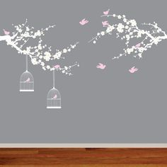 Nursery Branch Decals Vinyl Wall Art Birds and by AppleandOliver