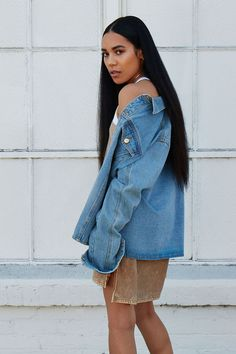 A denim jacket featuring a distressed design, basic collar, button front, long sleeves with button cuffs, and button chest pockets. Anniversary Outfit, Denim Outfit, Printed Tees, Cute Outfits, Casual Outfits, Latest Trends, Forever 21, My Style, Long Sleeve