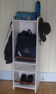 """I so """"need"""" this ... for the kids and the hubster --> school bag organizer/shelves.  By Echidna Krafts on facebook here: https://www.facebook.com/echidnakrafts"""
