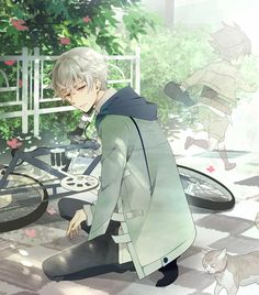 Adopted !! Akise . Age 18 . He gets distracted thinking about the past . With his dead friend . He does not talk unless required