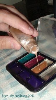"""Pretend Make-up from nail polish. *Pinner said* Did this for Madison last Christmas went to dollar store  bought cheap makeup  scrapped it out.  gave it to her w/ brushes  a makeup bag such a hit! the make up goes everywhere w/us (no mess! which I LOVE) she puts makeup on everyone that comes over and her dolls of course!"""" data-componentType=""""MODAL_PIN"""