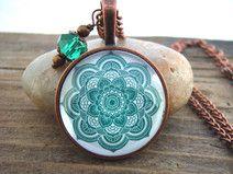 """Halskette """"Green Mandala"""" Yoga Chakra"""