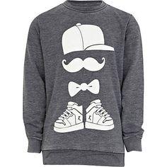 Boys navy moustache man sweatshirt - hoodies / sweatshirts - boys