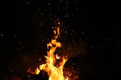 nature, fire, flames, burn, ashes, spark, smoke, night, dark, light, yellow, black