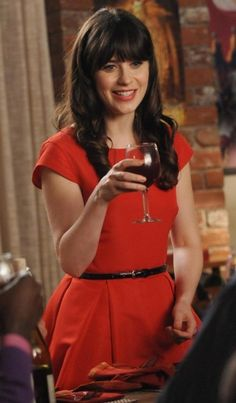 Zooey Deschanel's red dress on Thanksgiving episode of New Girl