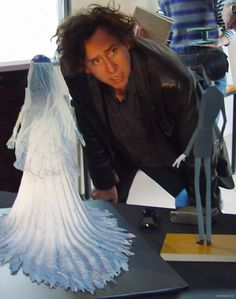 Tim Burton with models from Corpse Bride