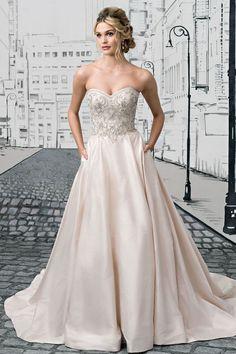 Wedding Dress/Pale Pink Silver Sweetheart Corset A-Line Chapel Train Bridal Dress image 4