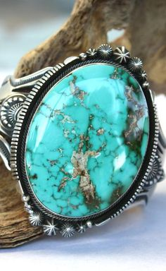 Pilot Mountain Turquoise in a Sterling Silver Cuff Bracelet by Aaron Toadlena Turquoise Cuff, Turquoise Jewelry, Turquoise Bracelet, Artisan Jewelry, Antique Jewelry, Ringa Linga, Southwest Jewelry, Southwestern Style, Western Jewelry