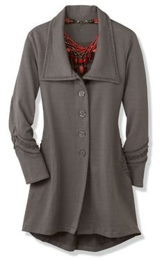 Our Rachel Jacket is splendidly detailed with tonal lace at the collar, pockets, & back yoke. It's crafted of high quality Peruvian cotton. It's one our customer's favorite items!