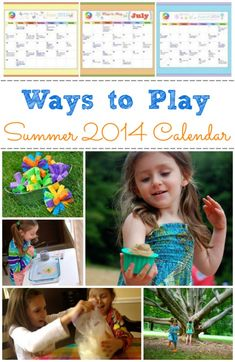 Ways to Play Summer 2014 Printable Calendar - start planning your Summer now. Lots of activities using common household items!