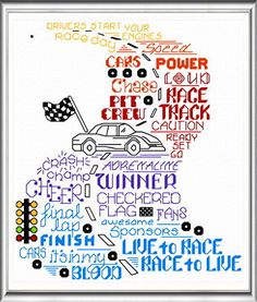 Lets Race 'Words' cross stitch pattern designed by Ursula Michael,