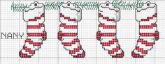 Gráfico Ponto Cruz de Natal cross stitch Christmas stockings
