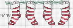 Gráfico Ponto Cruz de Natal cross stitch Christmas stockings