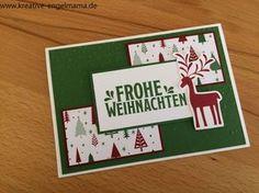 Kreative-Engelmama, Stampin´Up!, Weihnachten, Designerpapier Voller Vorfreude, Stempelset Unterm Mistelzweig, Prägeform Leise rieselt, Gartengrün, Chili,