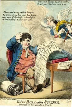 """John Bull at his studies. Attended by his guardian angell"" by unknown, 1799. A satire on the complicated nature of Pitt's income tax, introduced that year."