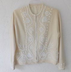 50's Beaded Sweater Vintage Ivory Glass Hand by luvofvintage, $56.00