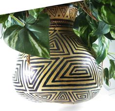 Hanging Gourd for Plants  Hand-Painted Tribal by WitchesHammer