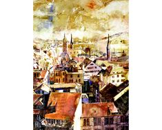 Watercolor painting of aerial view of downtown by RFoxWatercolors
