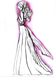longo em tinta #nanquim #lápis de #cor #fashion #illustration  #draw