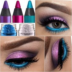 Purple and blue make up♡