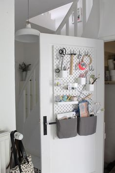 ideas craft room storage ideas ikea apartment therapy for 2019 Ikea Pegboard, Pegboard Organization, Craft Room Storage, Door Storage, Storage Ideas, Ikea Skadis, Office Decor, Home Office, Coin Couture