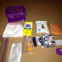 "Just pulled together a little ""emergency kit"" for my car after buying a small tough plastic container at OfficeMax this morning for $3.  It contains: tissues; baby wipes; anti-bacterial wipes; Advil; torch (with a new battery); anti-bacterial hand gel; tide on the go stain remover pen; a couple of family business cards; an empty gallon ziploc bag; and 2 different sizes of trash bags. I think this would cover me in the event of an emergency & the container is stuffed solid."