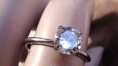 Ring Size 9  Vintage 1 ct  8mm diam White by VINTAGEARTJEWELRY, $62.00