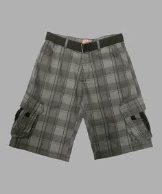 Another great find on #zulily! Charcoal Herringbone Shorts & Belt - Boys #zulilyfinds