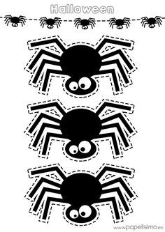 Schablonen-Spinne-Halloween-Print-and-Trim – Halloween Party Diy Halloween Activities, Diy Deco Halloween, Theme Halloween, Halloween Door, Halloween Crafts For Kids, Halloween Prints, Diy Halloween Decorations, Halloween Cards, Holidays Halloween