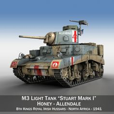 M3 LIGHT TANK HONEY – ALLENDALE 3D MODEL MILITARY VEHICLES    Originally modelled in cinema4D. Detailed enough for close-up renders. The zip-file contains bodypaint textures and standard materials.  Features: - Inside scene: -model - 17 textures - All materials, bodypaint-textures and textures are included. - No cleaning up necessary, just drop your models into the scene and start rendering. - No special plugin needed to open scene.  - Phong shading interpolation / Smoothing - 35°…