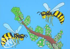 Two bee or not two bee  FOR SALE!  June 19, 2015 480 mm x 680 mm The wasps are made with ecoline- and acrylic paint on a white piece of paper, the lines were done with fineliner. Later the wasps have been cut out and glued to a blue sheet of paper.  No, these are wasps.  Kanoor