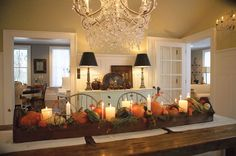 Fall pumpkin and candles centerpiece