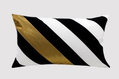 "Striped Black-White Cotton Designer fabric Lumbar pillow case with a Gold color fabric accent, fits 12""x 20"" insert."