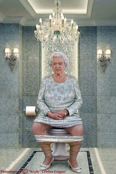 Elizabeth II, Queen of England   by Cristina Guggeri Here Are 9 World Leaders Pooping... Because, Why Not? I Can't Stop Laughing At #8.