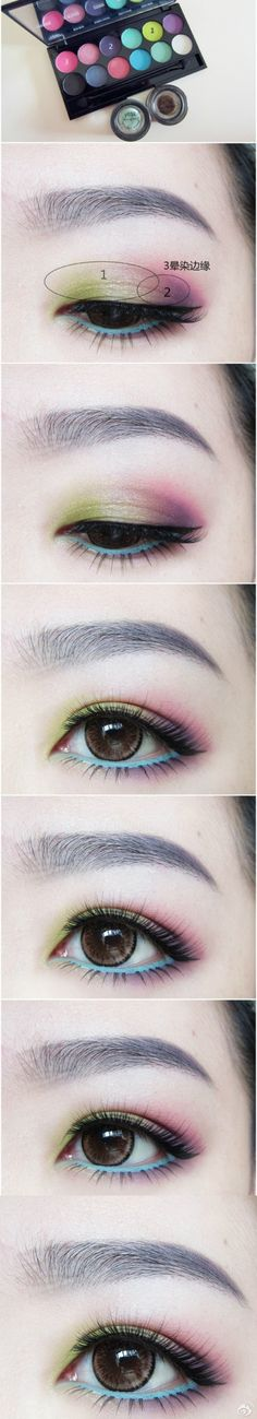 Light Green and Purple Shadow and Black and Light Blue Liner