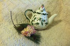 Sage Green and Rose Holly Teapot Hand Painted by PamsPawsJewelry
