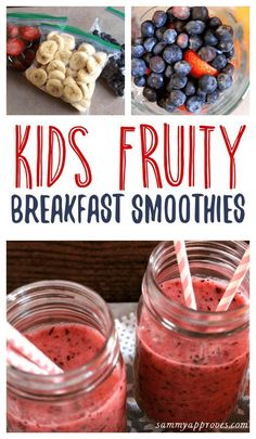 My kids love this recipe for breakfast smoothies. It's so easy to make them and packed full of fresh fruits and juice. The color makes them perfect to serve on Valentine's Day or any occasion!