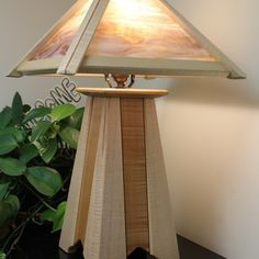 """Mission Lamp Built with the Rockler Piloted Flush Trim Router Bits - 1/4"""" Shank Cool Woodworking Projects, Diy Woodworking, Wood Projects, Craftsman Furniture, Craftsman Lamps, Flush Trim Router Bit, Best Desk Lamp, Large Lamps, Rustic Lamps"""