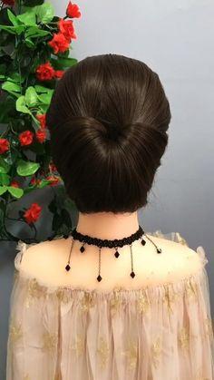 Hairdo For Long Hair, Bun Hairstyles For Long Hair, Bride Hairstyles, Headband Hairstyles, Front Hair Styles, Medium Hair Styles, Hair Style Vedio, Hair Tutorials For Medium Hair, Bridal Hair Buns