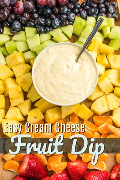 This Easy Fruit Dip recipe has only 4 ingredients and takes just a few minutes to whip together. It is smooth and creamy with a hint of citrus. It is a delicious complement to fresh fruit. #freshfruitdip #fruitdip #fruitdiprecipe #easyfruitdip #easydiprecipe #fruitanddip #creamcheeserecipe #creamcheesedip #creamcheesefruitdip Entree Recipes, Side Dish Recipes, Appetizer Recipes, Snack Recipes, Party Recipes, Appetizers, Dip Recipes, Side Dishes