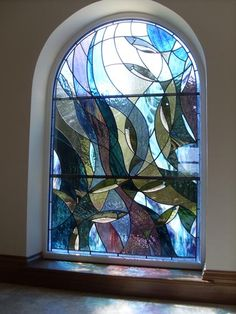 modern stained glass windows | Stained Glass at Contemporary residential - North Yorkshire :: Caryl ...