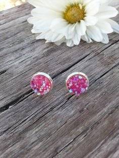 Druzy Pink Stud Earrings Silver Studs 10mm Iridescent Boho Jewelry