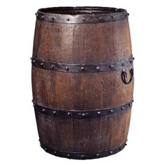 Combine old-fashioned charm with contemporary practicality with this vintage wooden barrel. Handcrafted from wood with a sturdy iron band and studs, it makes an ideal accent to your patio, kitchen or