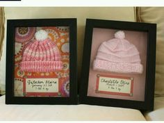 Shadow boxes to display baby keepsakes!
