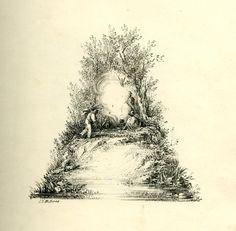 Cet alphabet dont les lettres sont formées avec des paysages a été imprimé par Charles Joseph Hullmandel en 1818.
