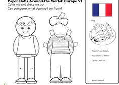 Love these paper doll printable activities from around the world. They include lots of European countries that would go with this unit.