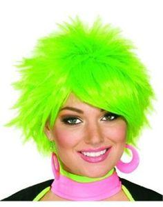 Neon Pink /& Green Punk Wig Gothic Biker Rocker Fancy Dress Accessory