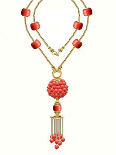 coral beads,coral tubes with  a coral ball and tassel . www.studiotara.com