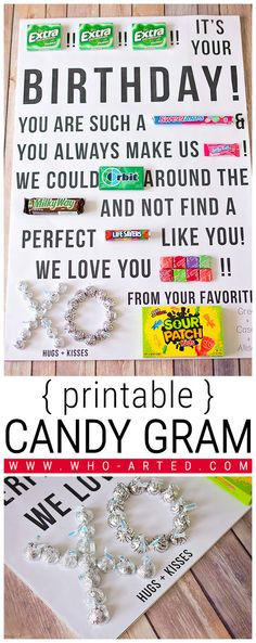{ Free Printable! } Birthday card candy gram. Shopping list + directions + download. Love it!